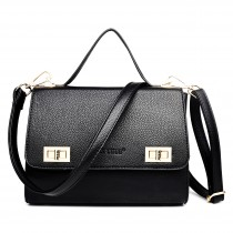 LF1630 - Miss Lulu Textured Leather Look Shoulder Handbag Black
