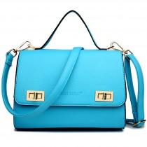 LF1630 - Miss Lulu Textured Leather Look Shoulder Handbag Light Blue