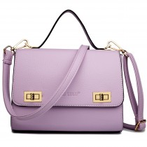 LF1630 - Miss Lulu Textured Leather Look Shoulder Handbag Purple