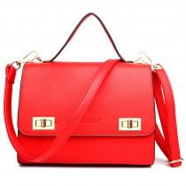 LF1630 - Miss Lulu Textured Leather Look Shoulder Handbag Red