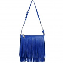 LA1620 - Miss Lulu Leather Look Cross Body Fringe Bag Blue