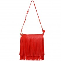 LA1620 - Miss Lulu Leather Look Cross Body Fringe Bag Red