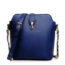 LA1621 - Miss Lulu Leather Look Cross Body Bucket Bag Blue