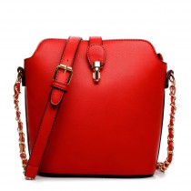 LA1621 - Miss Lulu Leather Look Cross Body Bucket Bag Red