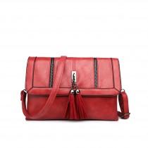 LA1629 - Miss Lulu Leather Look Tassel Front Evening Bag Red