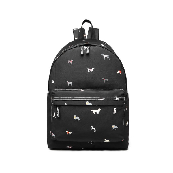 LB1927 - MISS LULU 'DOGS IN JUMPERS' BACKPACK - BLACK