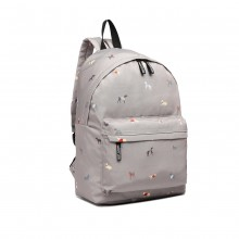 LB1927 - MISS LULU 'DOGS IN JUMPERS' BACKPACK - GREY