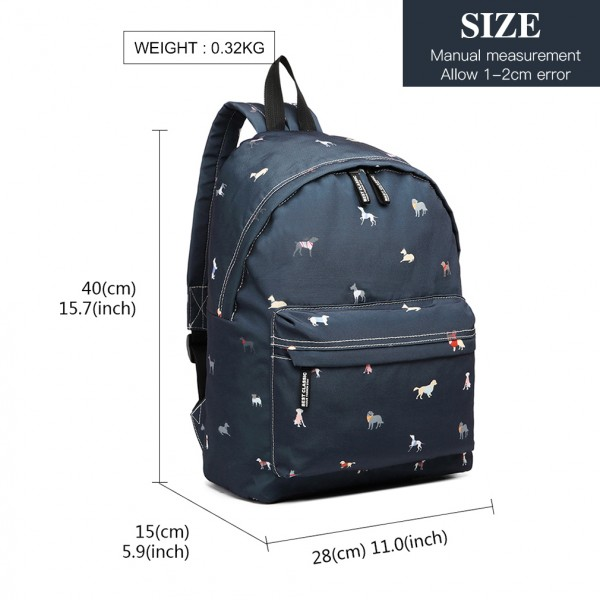 LB1927 - MISS LULU 'DOGS IN JUMPERS' BACKPACK - NAVY