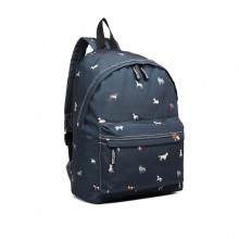 LB1927-MISS LULU 'DOGS IN JUMPERS' RUCKSACK MARINE