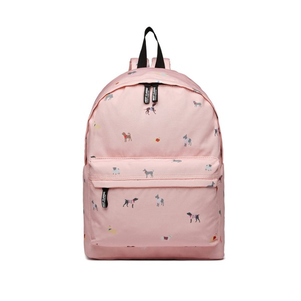 LB1927 - MISS LULU 'DOGS IN JUMPERS' BACKPACK - PINK