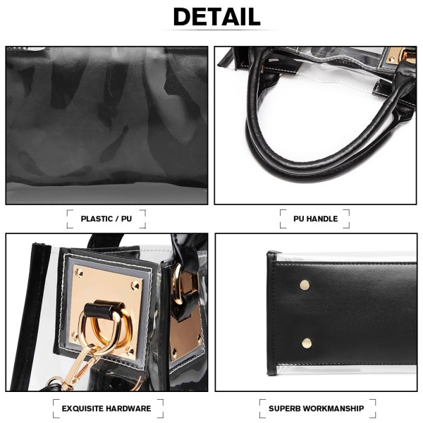 LB1931 - MISS LULU TRANSPARENT TWO PIECE HANDBAG SET - BLACK