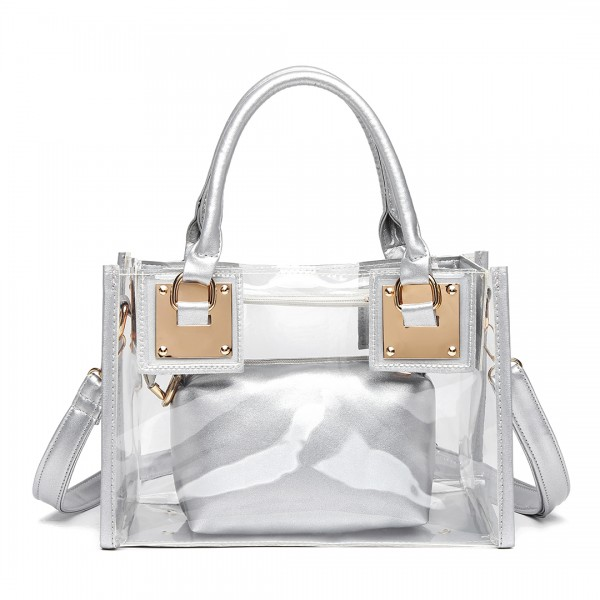 LB1931 - MISS LULU TRANSPARENT TWO PIECE HANDBAG SET - SILVER