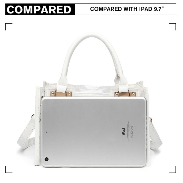 LB1931 - MISS LULU TRANSPARENT TWO PIECE HANDBAG SET - WHITE