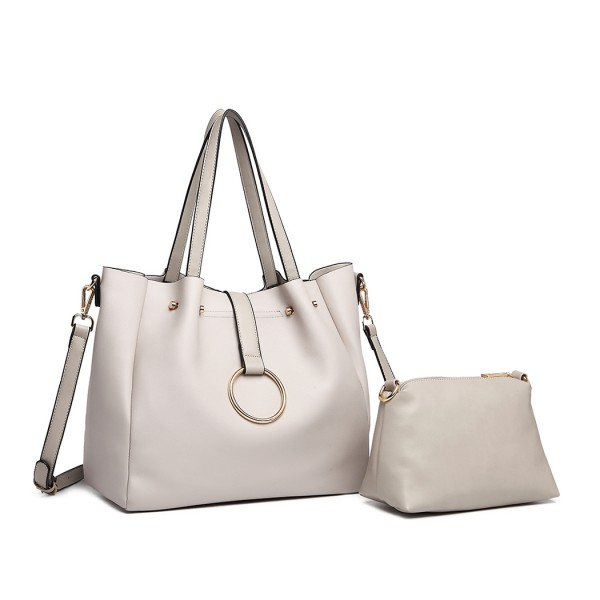 LB1935 - MISS LULU SOFT LEATHER LOOK 2-IN-1 SHOULDER BAG - BEIGE
