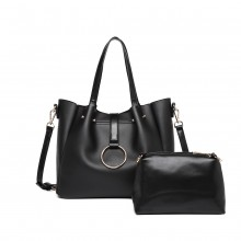 LB1935 - MISS LULU SOFT LEATHER LOOK 2-IN-1 SHOULDER BAG - BLACK