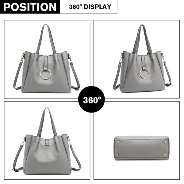 LB1935 - MISS LULU SOFT LEATHER LOOK 2-IN-1 SHOULDER BAG - GREY