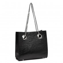 LB1936-MISS LULU METALLIC SQUARE SHOULDER BAG BLACK