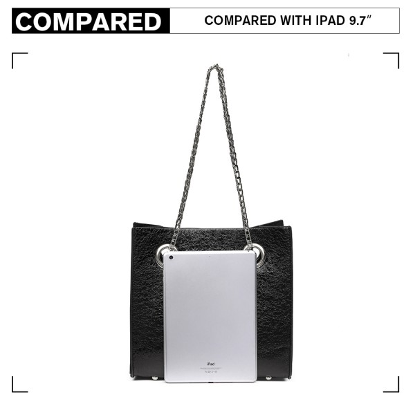 LB1936 - MISS LULU METALLIC SQUARE SHOULDER BAG - BLACK