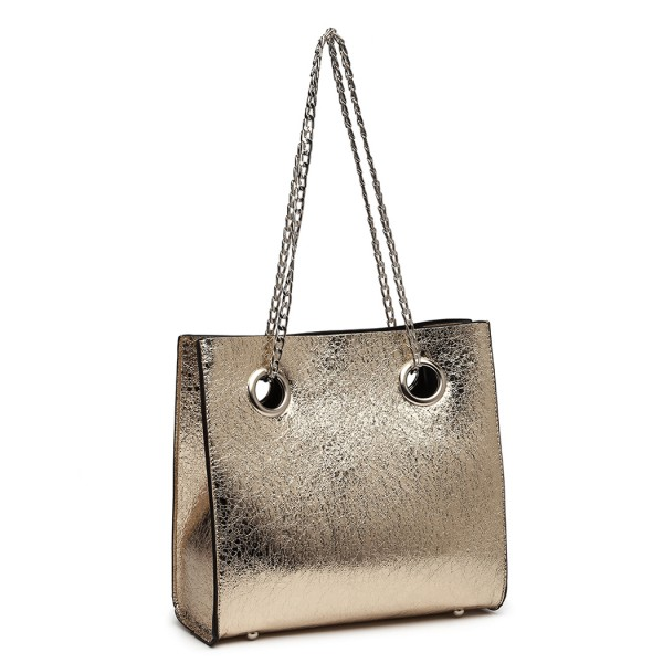 LB1936 - MISS LULU METALLIC SQUARE SHOULDER BAG - GOLD