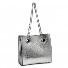 LB1936-MISS LULU METALLIC SQUARE SHOULDER BAG SLIVER