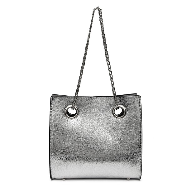 LB1936 - MISS LULU METALLIC SQUARE SHOULDER BAG - SILVER
