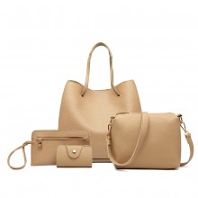 LB1937-4 PCS SET SHOULDER TOTE HANDBAG BEIGE