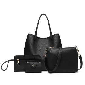 LB1937 - MISS LULU 4 PIECE SET SHOULDER TOTE HANDBAG - BLACK
