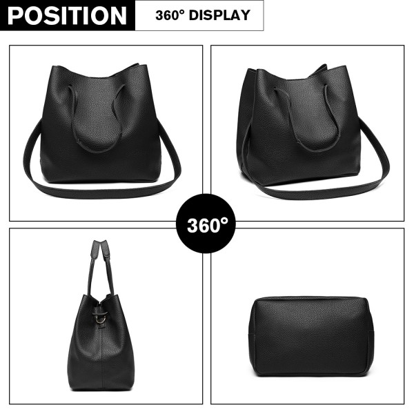 LB1937-4 PCS SET SHOULDER TOTE HANDBAG BLACK