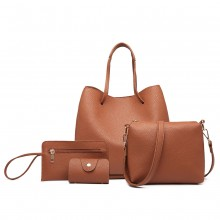 LB1937-4 PCS SET SHOULDER TOTE HANDBAG BROWN
