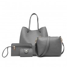 LB1937-4 PCS SET SHOULDER TOTE HANDBAG GREY