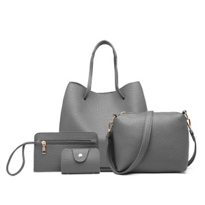 LB1937 - MISS LULU 4 PIECE SET SHOULDER TOTE HANDBAG - GREY