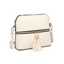 LB1938- miss LULU LEATher look DUAL ZIPPER cross body BAG- BEIGE