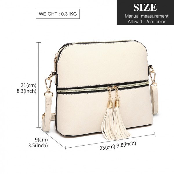 LB1938-MISS LULU CUIR LOOK DOUBLE FERMETURE CROSS BODY BAGY BEIGE