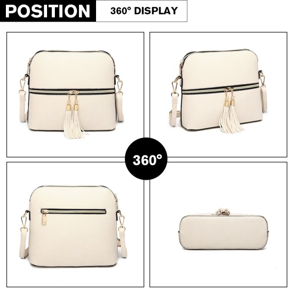 LB1938 - MISS LULU LEATHER LOOK DUAL ZIPPER CROSS BODY BAG - BEIGE