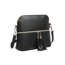 LB1938-MISS LULU PIEL LOOK DUAL ZIPPER CROSS BODY BAG NEGRO