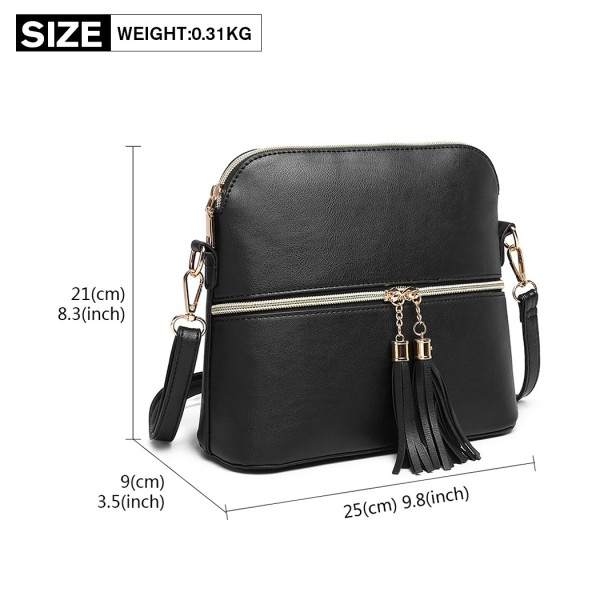LB1938 - MISS LULU LEATHER LOOK DUAL ZIPPER CROSS BODY BAG - BLACK