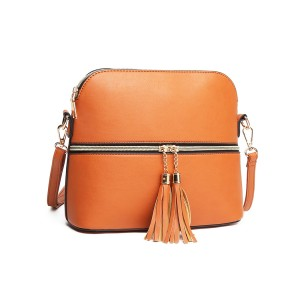 LB1938 - MISS LULU LEATHER LOOK DUAL ZIPPER CROSS BODY BAG - BROWN