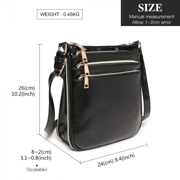 LB1939 - MISS LULU EXPANDING LEATHER LOOK CROSS BODY BAG - BLACK