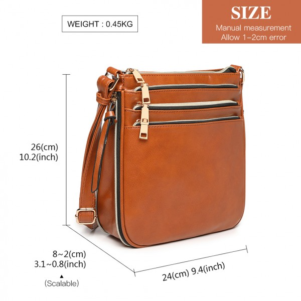 LB1939 - MISS LULU EXPANDING LEATHER LOOK CROSS BODY BAG - BROWN