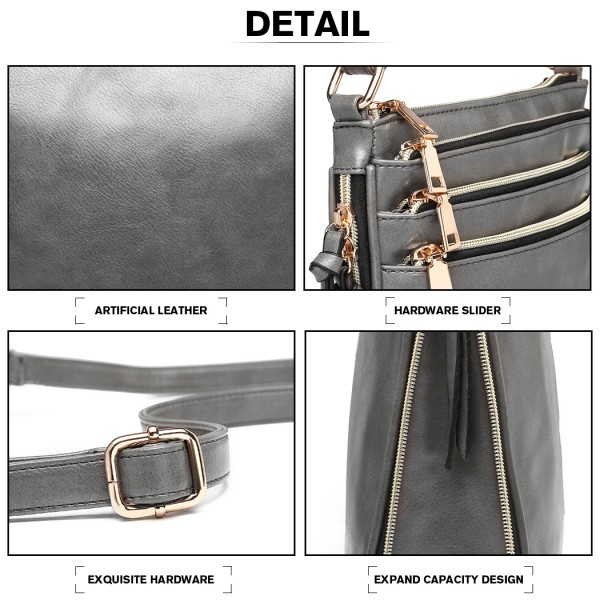 LB1939 - MISS LULU EXPANDING LEATHER LOOK CROSS BODY BAG - GREY