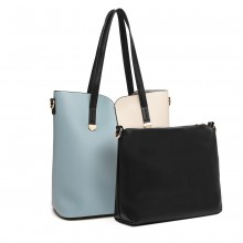 LB1950 - Miss Lulu Two Tone 2 Piece Shoulder Bag Set - Blue And Beige