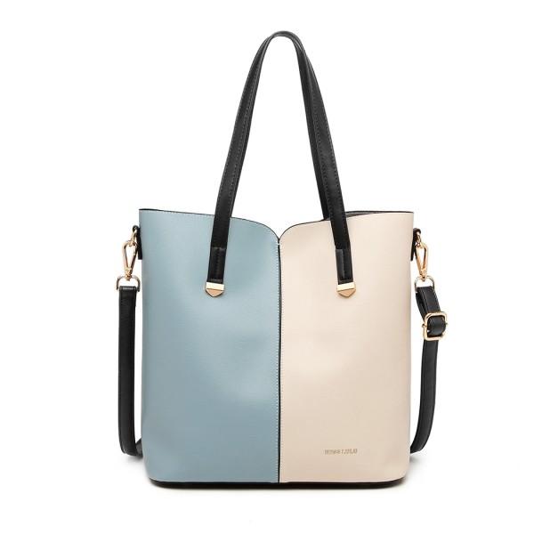 LB1950 - Miss Lulu Two Tone 2 Piece Shoulder Bag Set - Blue And Beige