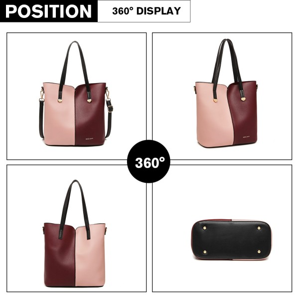 LB1950 - Miss Lulu Two Tone 2 Piece Shoulder Bag Set - Pink And Burgundy