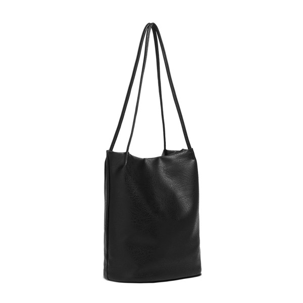 LB1951 - MISS LULU LARGE BUCKET SHOULDER BAG - BLACK