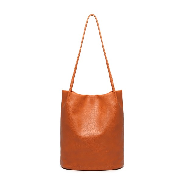 LB1951 - MISS LULU LARGE BUCKET SHOULDER BAG - BROWN