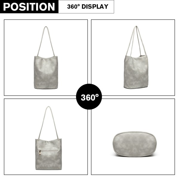 LB1951 - MISS LULU LARGE BUCKET SHOULDER BAG - GREY