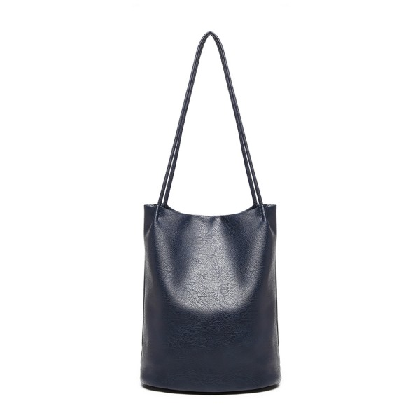 LB1951 - MISS LULU LARGE BUCKET SHOULDER BAG - NAVY