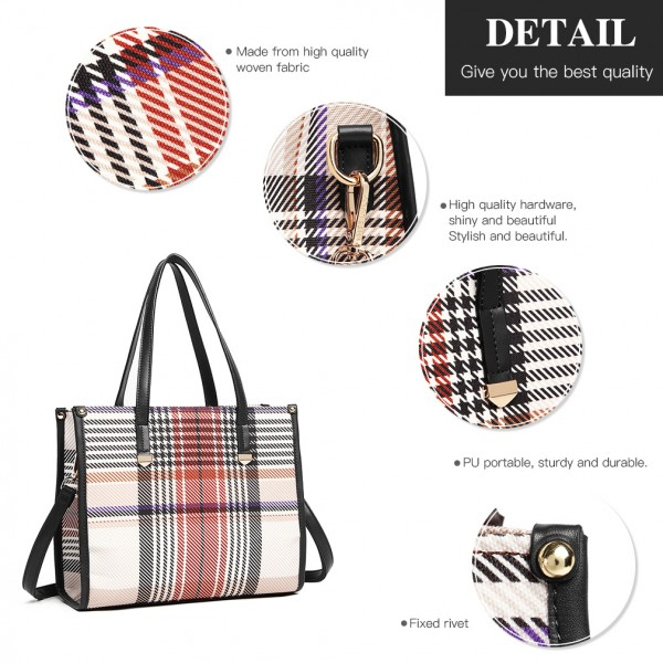 LB1955 - MISS LULU PLAID TARTAN LOOK SHOULDER BAG - BLACK