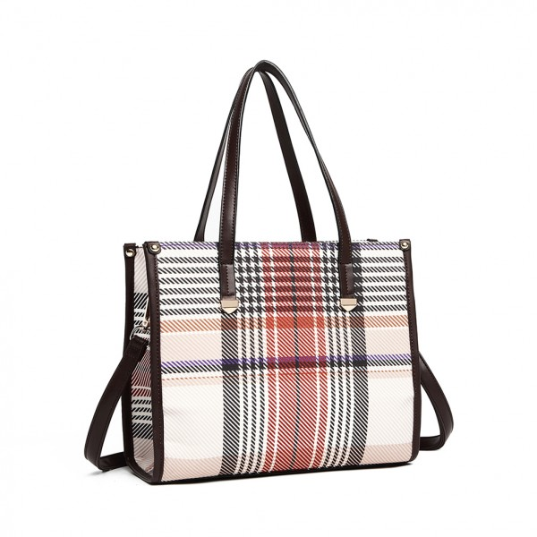 LB1955 - MISS LULU PLAID TARTAN LOOK SHOULDER BAG - BROWN