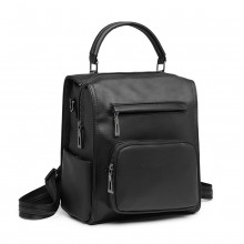LB1967 - Miss Lulu Leather Look Multi-way Backpack Shoulder Bag - Black